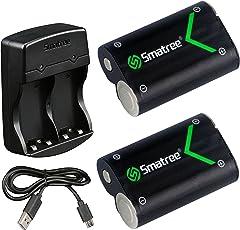 Smatree Batteria Ricaricabile 2000mAh (2 pezzi) e Caricabatterie da Batteria Doppio per Xbox One, Xbox One Elite, Xbox One S, Xbox One X