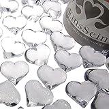 EinsSein 30x Dekosteine Funkelnde Herzen 22mm klar Dekoration Streudeko Konfetti Tischdeko Hochzeit Konfetti Diamanten Diamant Glas groß