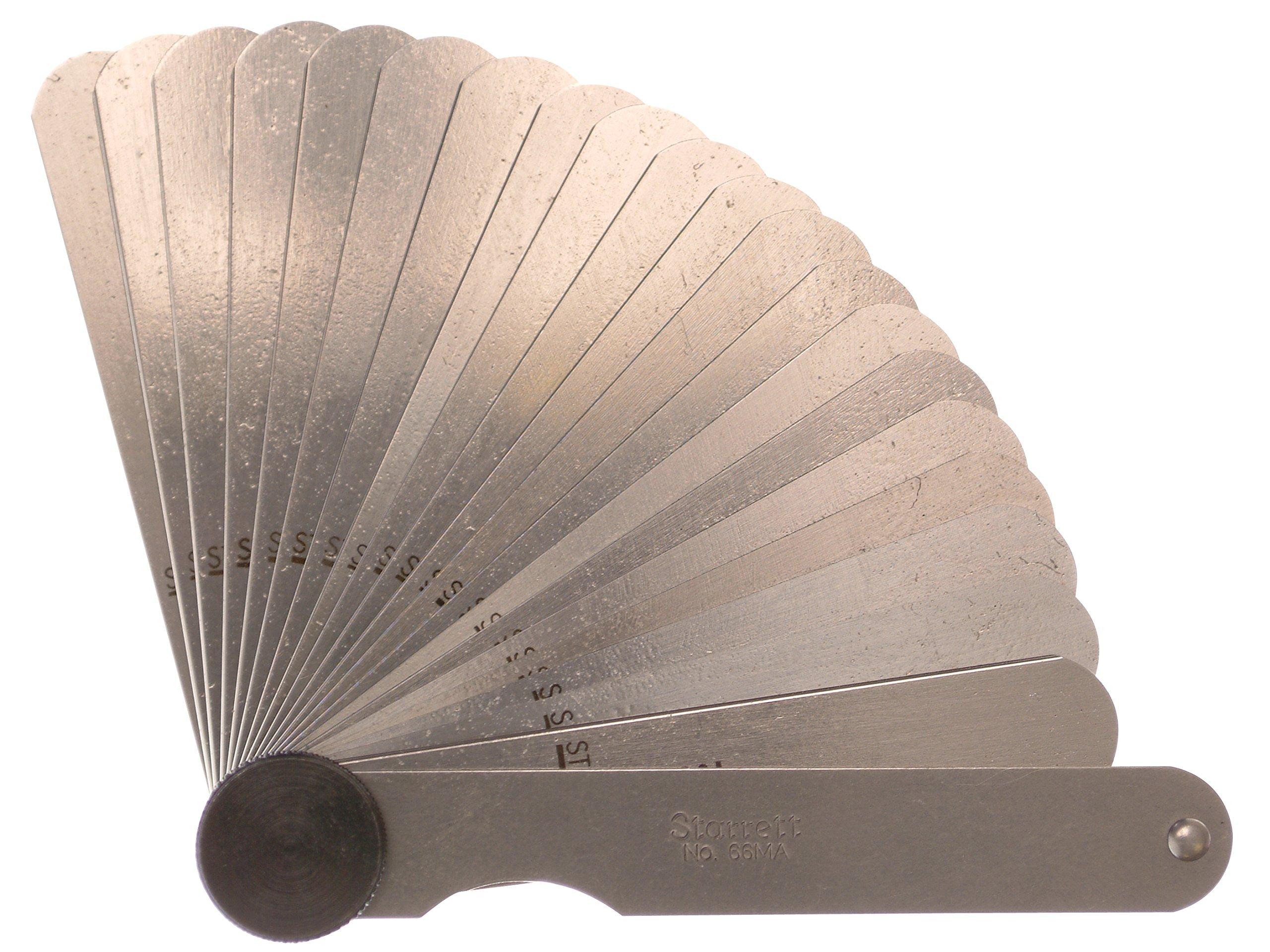 Starrett 66MA - Spessimetro con 20 lame, gamma di misurazione 0,05-1,0 mm