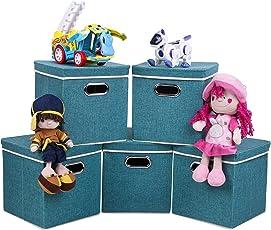 UberLyfe Green 5pc Kids Toy Storage Boxes - (KSB-1318-SBO-GN5PC)