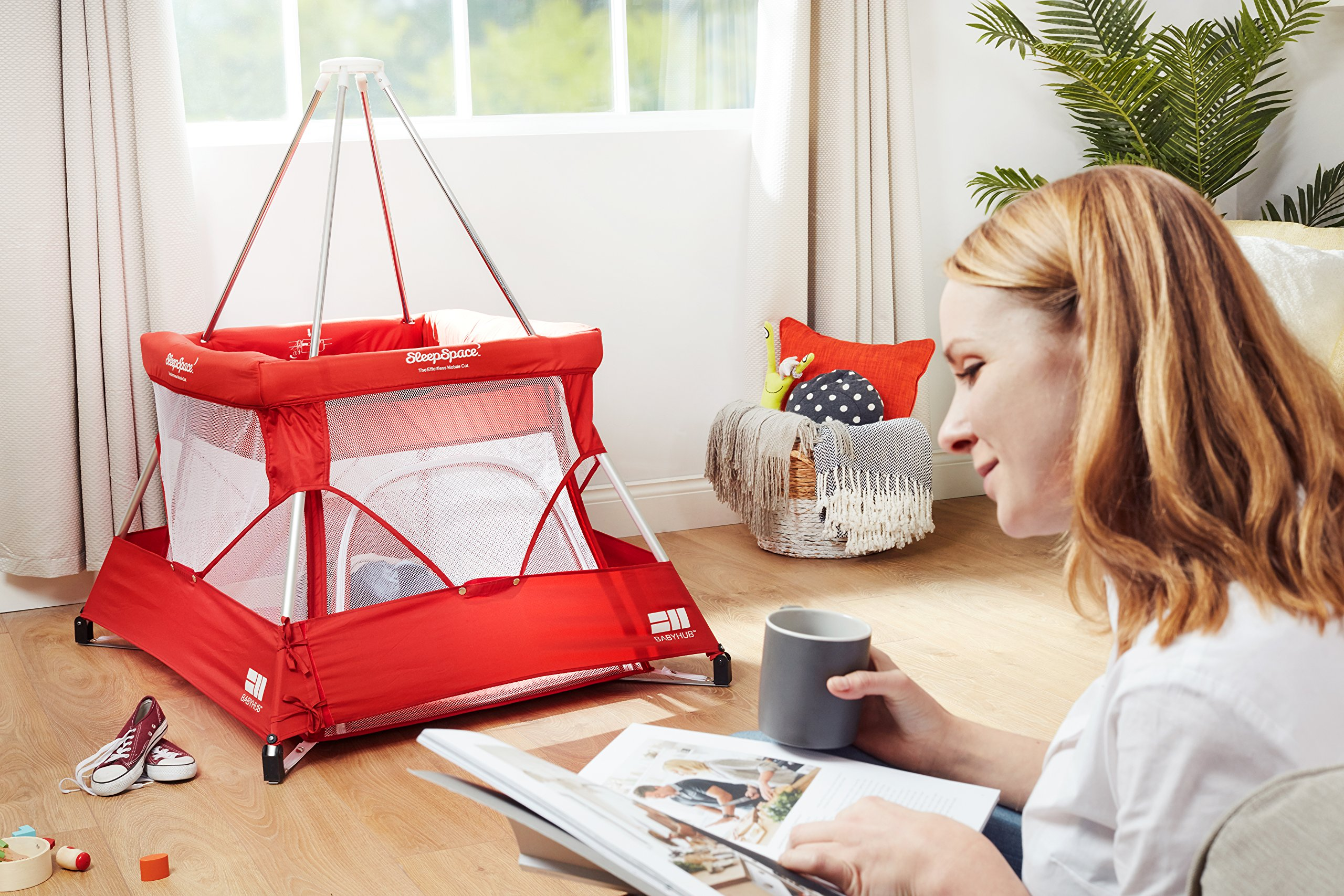 BabyHub SleepSpace Travel Cot with Mosquito Net, Red BabyHub Three cots in one; use as a travel cot, mosquito proof space and reuse as a play tepee Includes extra mosquito net cover that can be securely in place Can be set up and moved even while holding a baby 5