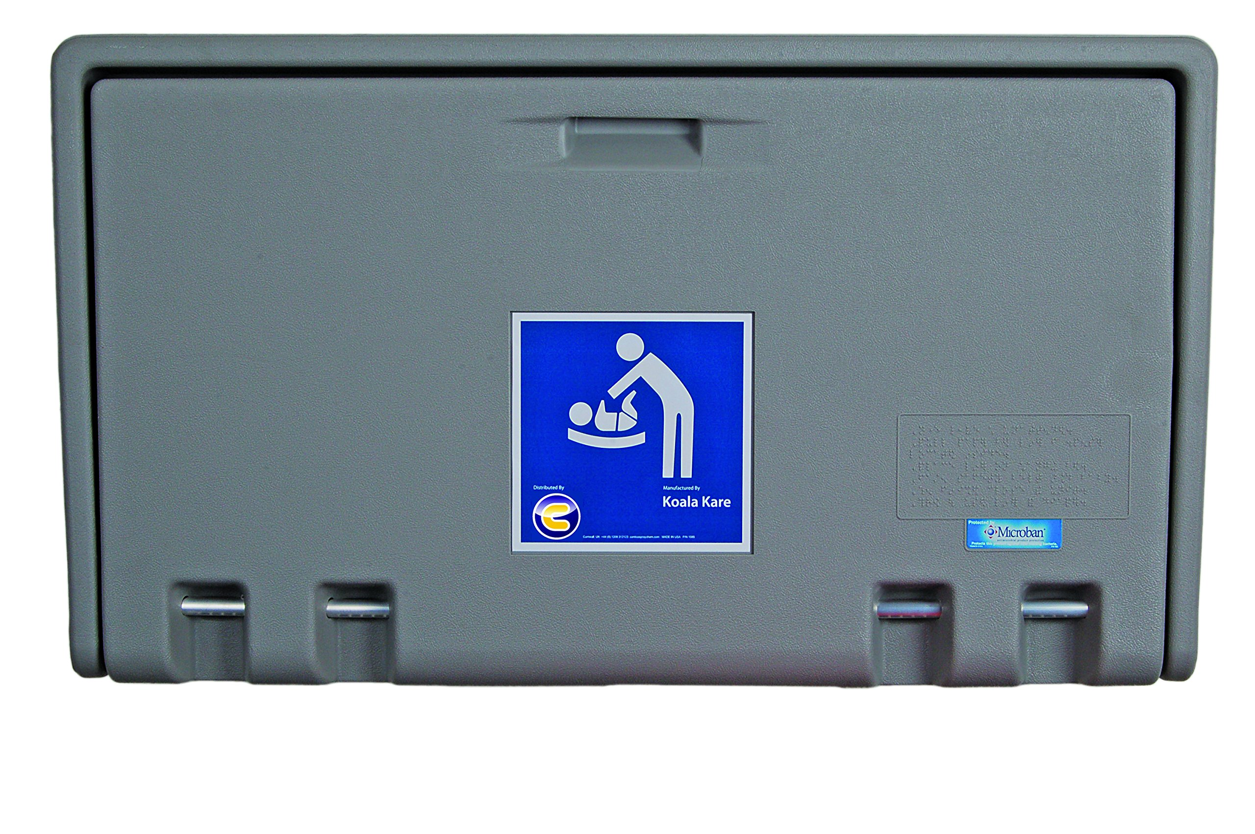 Baby Changing Table Horizontal Wall Mounted - Discounted Cleaning Supplies - Koala Kare Discounted Cleaning Supplies 4 Fixing Points for Extra Safety. No external hinges to prevent pinch injury Genuine Microban anti bacterial protection!! Shallow Compact Unit. Less the 10cm deep when folded. NOW WITH Built in liner dispenser 2