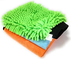 Sobby Cleaning Cloths Combo For Car(1 Pc Of 40 Cm X 40 Cm Microfiber Cloth,1 Pc Of Fluffy Microfibre Cloth For Detailing,1 Pc Microfiber Glove)