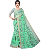PERFECTBLUE Women's Digital Cotton Linen Blend Saree with Unstitched Blouse Piece(DigiPatta)
