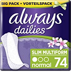 Always Slipeinlagen Slim Multiform Fresh, Vorteilspack, 1er Pack (1 x 74 Stück)