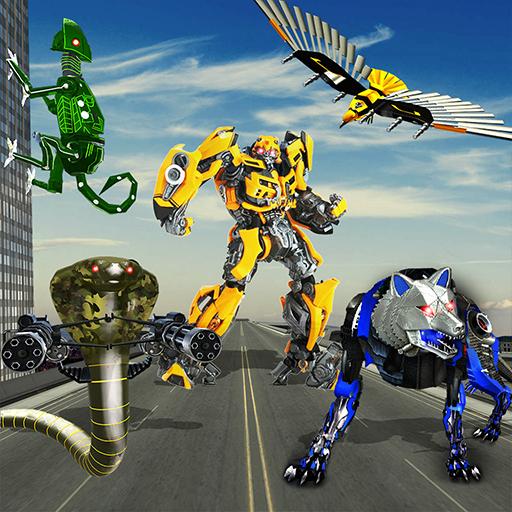 Multi Roboter verwandeln Wolf, Schlange, Falken und Eidechsen, Roboter im ultimativen Krieg als echte starke Steal Champions, transformierende Schlacht 2018, super real Mech Roboter Squad, fliegende Luft Drohne Transformation, Transformation Roboter