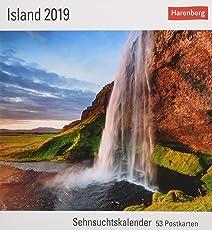 Island - Kalender 2019: Sehnsuchtskalender, 53 Postkarten