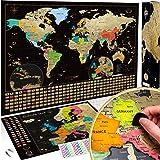 Due Mappe Da Grattare: Mappa del Mondo da Grattare con bandiere XXL + Offerta Gratuita una Mappa dell'Europa da grattare - Ma