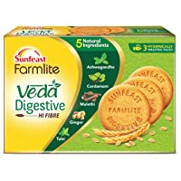 Sunfeast Farmlite Veda Digestive Biscuit | High Fibre | Goodness of 5 Natural Ingredients and Wheat Fibre, 250g