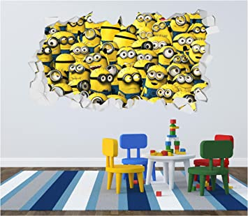 Minion Despicable Me Crumbled Wall Art Sticker Decal Kids Bedroom - Minion wall decals