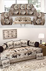 Astra Jaquard Diwan Set Combo with Sofa Covers (Brown, btrcombo01)