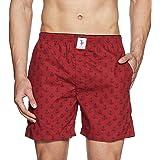 U.S. Polo Assn. Men's Printed Cotton Boxers (I600-AQ1-PR_Red - Horseshoe_Large)