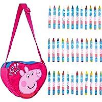 Peppa Pig Umhängetasche Mädchen, Peppa Wutz Handtasche Mädchen mit Wachsmalstifte Set, 36 Crayons