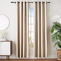 AmazonBasics - Juego de cortinas que no dejan pasar la luz, con ojales,  245 x 140 cm, Beige