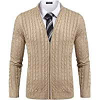COOFANDY Men's Full Zip Cardigan Sweater Slim Fit Cable Knitted Zip Up Jumper with Pockets