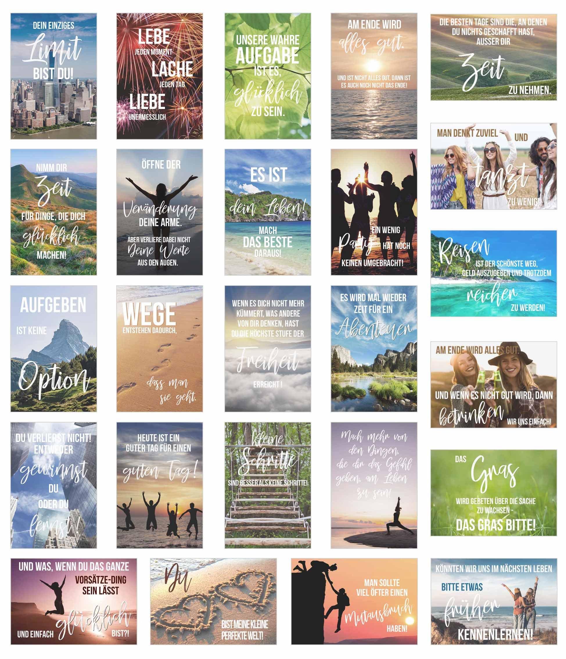 Set 25 Postkarten Leben Momente Mit Spruchen Karten Mit Spruch Grusskartenkaufen De