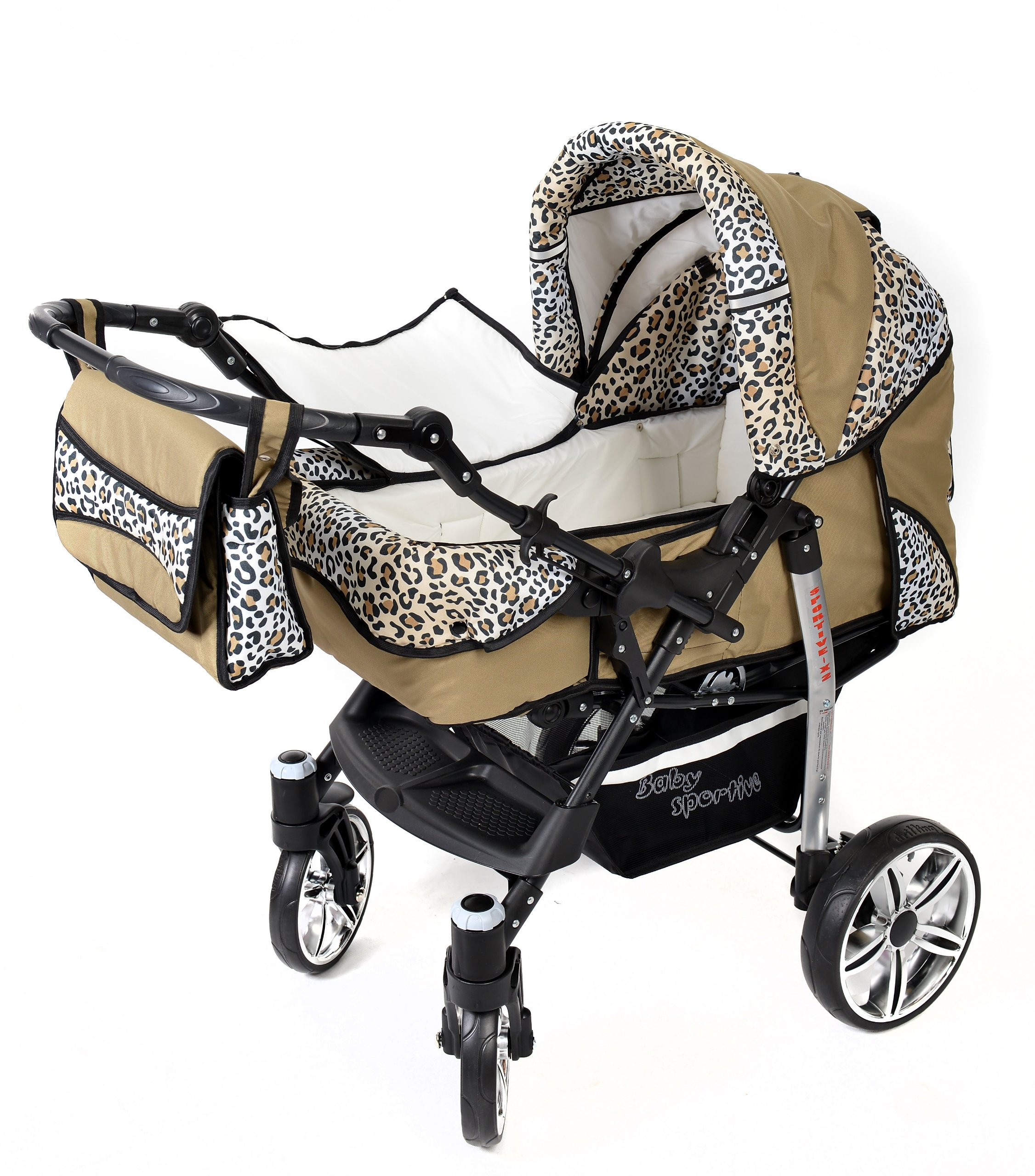 Sportive X2, 3-in-1 Travel System incl. Baby Pram with Swivel Wheels, Car Seat, Pushchair & Accessories (3-in-1 Travel System, Beige & Leopard) Baby Sportive 3 in 1 Travel System All in One Set - Pram, Car Carrier Seat and Sport Buggy + Accessories: carrier bag, rain protection, mosquito net, changing mat, removable bottle holder and removable tray for your child's bits and pieces Suitable from birth, Easy Quick Folding System; Large storage basket; Turnable handle bar that allows to face or rear the drive direction; Quick release rear wheels for easy cleaning after muddy walks Front lockable 360o swivel wheels for manoeuvrability , Small sized when folded, fits into many small car trunks, Carry-cot with a removable hood, Reflective elements for better visibility 8
