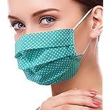 Lilind Maschera per il viso alla Moda, Tessuto 100% Cotone, Riutilizzabile, Traspirante, Handmade, Motivo a Punti verdi