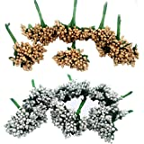 Delush Design Golden and Silver Mix Color 12 Bunch of 12 Pollen Each Golden Artificial Flowers for Art and Craft Tiara Headb