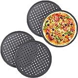 Relaxdays 10030761 Lot de 4 plaques à pizza rondes perforées antiadhésives en acier Anthracite Diamètre 32 cm