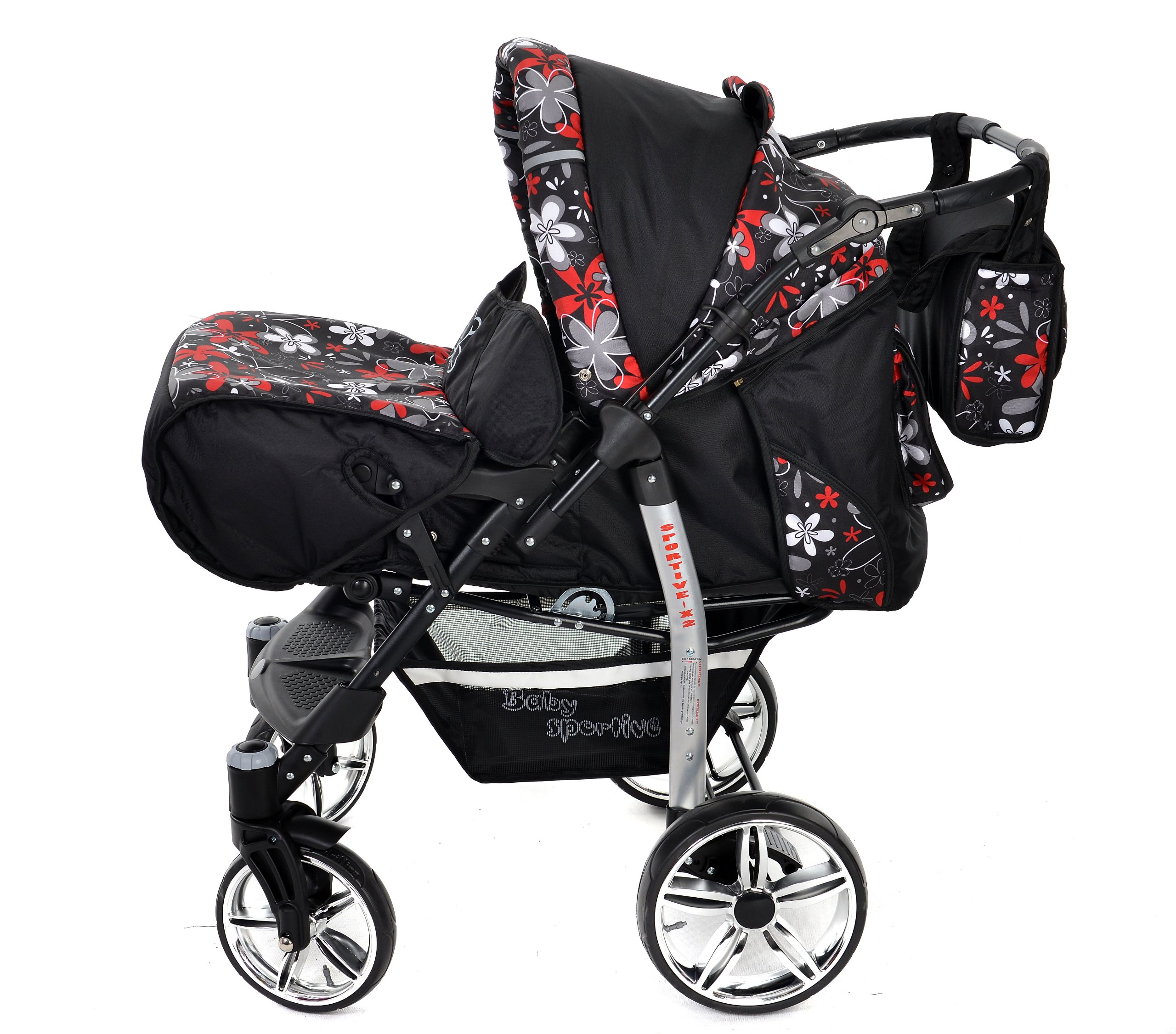 Sportive X2, 3-in-1 Travel System incl. Baby Pram with Swivel Wheels, Car Seat, Pushchair & Accessories (3-in-1 Travel System, Black & Small Flowers) Baby Sportive 3 in 1 Travel System All in One Set - Pram, Car Carrier Seat and Sport Buggy + Accessories: carrier bag, rain protection, mosquito net, changing mat, removable bottle holder and removable tray for your child's bits and pieces Suitable from birth, Easy Quick Folding System; Large storage basket; Turnable handle bar that allows to face or rear the drive direction; Quick release rear wheels for easy cleaning after muddy walks Front lockable 360o swivel wheels for manoeuvrability , Small sized when folded, fits into many small car trunks, Carry-cot with a removable hood, Reflective elements for better visibility 3