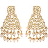 I Jewels 18K Gold Plated Traditional Handcrafted Earrings Encased with Faux Kundan & Pearl for Women/Girls (E2791-8)