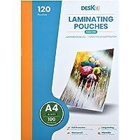 Feuilles plastifieuse Deskit A4, brillantes, 120 feuilles, 100 microns - Présentations claires et durables - Rigidité d…