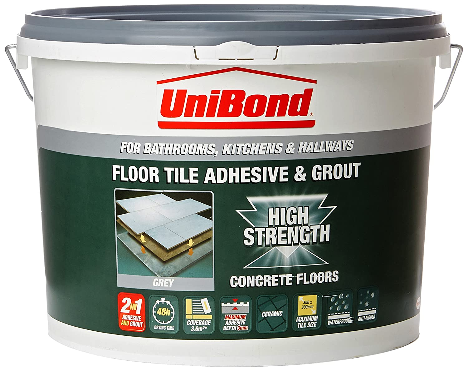 Unibond 1535347 concrete floor tile adhesive and grout bucket unibond 1535347 concrete floor tile adhesive and grout bucket grey amazon diy tools dailygadgetfo Gallery