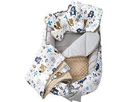 Set 5 pezzi per Neonati Nido Bozzolo Neonato 90x50 100% Cotone Babynest Inserto Removibile Cuscino Coperta per Bambini Medi P