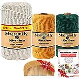 Corde macramé 3mm-Kit macramé-Fil macrame coton●BONUS|Fil macramé pour decoration murale|Kit attrape reve a fabriquer.Loisir