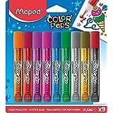 Maped Color'Peps Tubes de colle Pailletées pour enfant Effet Brillant, Facile à utiliser avec Embout Fin - 9 Tubes de 10.5 ml