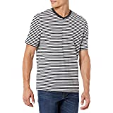 Amazon Essentials Men's Loose-fit Short-Sleeve Stripe V-Neck T-Shirts (Pack of 2)