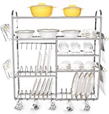 Home Creations 30 x 32 inch Wall Mount Kitchen Dish Rack/Kitchen Utensils Rack/Modern Kitchen Storage Rack