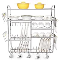 Home Creations 30 x 32 inch Wall Mount Kitchen Dish Rack/Kitchen Utensils Rack/Modern Kitchen Storage Rack/Kitchen Organizer/Modular Kitchen Storage Rack/Utensils Rack with Plate & Cutlery Stand