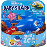ZURU ROBO ALIVE JUNIOR- Junior-Daddy Shark-Giocattolo da Bagno per cantare e Nuotare, Colore Blu, 25282B