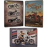 Chapas Decorativas Vintage [ Motos Clásicas ] | Con Relieve y Autocolgables | Salón Despacho Taller Garaje Oficina | 3 Cartel
