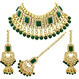 Saiyoni Indian Bridal Green Kundan Choker Necklace Set with Maang-Tikka for Women