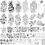 Yazhiji 49 vellen grote sexy bloemencollectie waterdichte tijdelijke tatoeages die nep-tatoeages voor vrouwen en meisjes blij