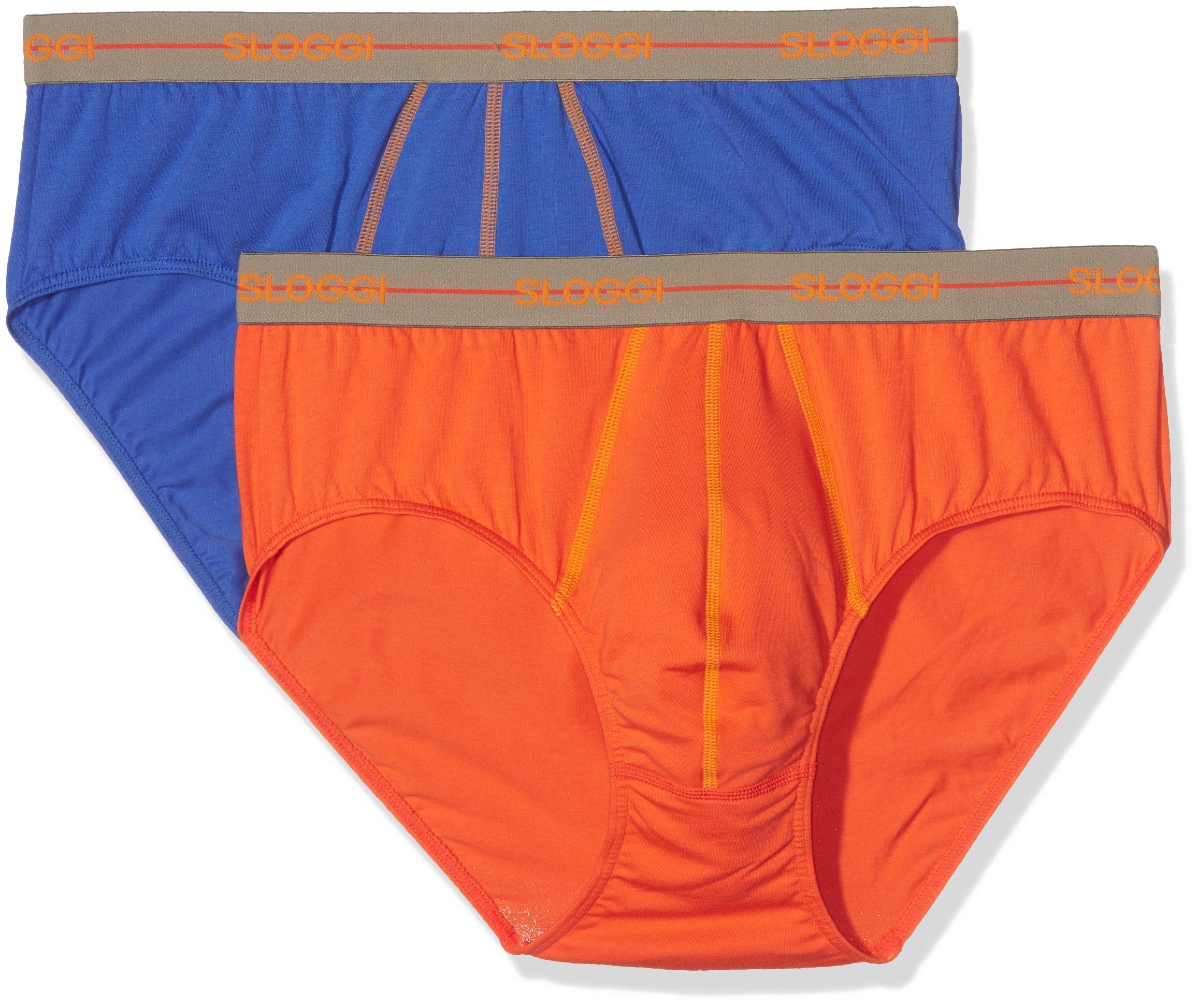Sloggi Sloggi Men Start Midi C2p, Slip Uomo, Multicolore (1 Bleu + 1 Orange), Small (Taglia Produtt