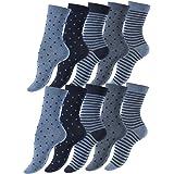Vincent Creation 10 paia di calzini per donna delle ragazze dotted e rigato