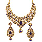 Crunchy Fashion Indian Bollywood Traditional Floral Theme White Rhinestone and Blue Faux Sapphire Bridal Designer Jewelry Nec