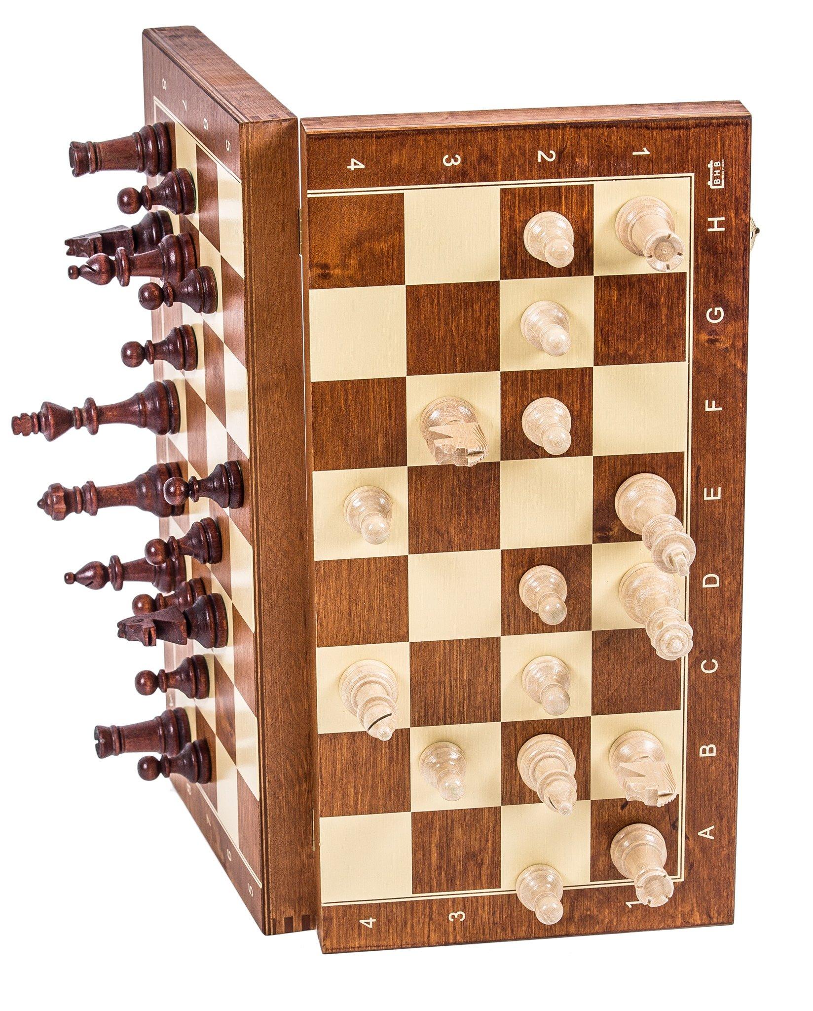 Schach-Schachspiel-MAGNETISCHE-Staunton-Nr-4-Schachfiguren-Schachbrett-aus-Holz