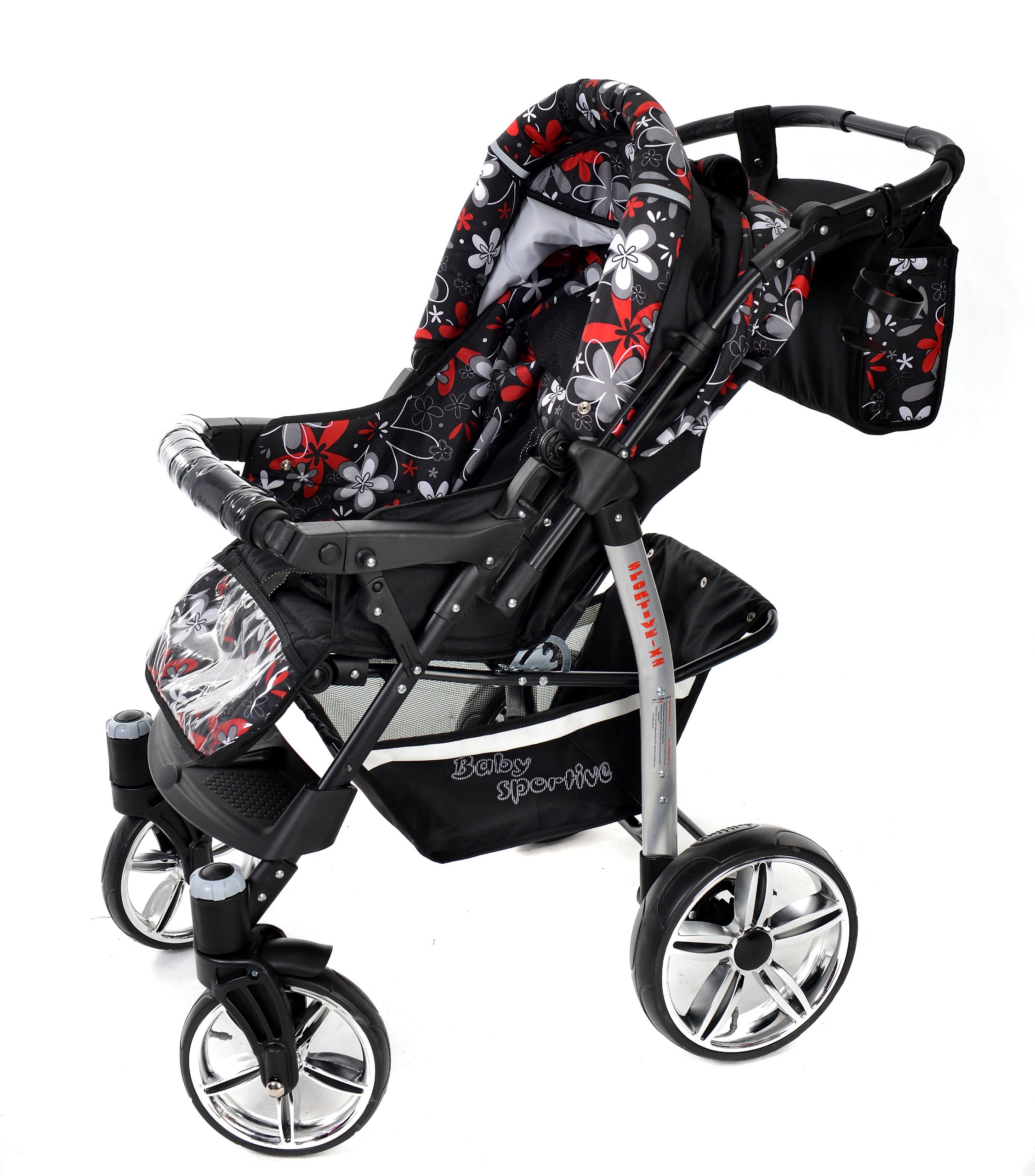 Sportive X2, 3-in-1 Travel System incl. Baby Pram with Swivel Wheels, Car Seat, Pushchair & Accessories (3-in-1 Travel System, Black & Small Flowers) Baby Sportive 3 in 1 Travel System All in One Set - Pram, Car Carrier Seat and Sport Buggy + Accessories: carrier bag, rain protection, mosquito net, changing mat, removable bottle holder and removable tray for your child's bits and pieces Suitable from birth, Easy Quick Folding System; Large storage basket; Turnable handle bar that allows to face or rear the drive direction; Quick release rear wheels for easy cleaning after muddy walks Front lockable 360o swivel wheels for manoeuvrability , Small sized when folded, fits into many small car trunks, Carry-cot with a removable hood, Reflective elements for better visibility 5