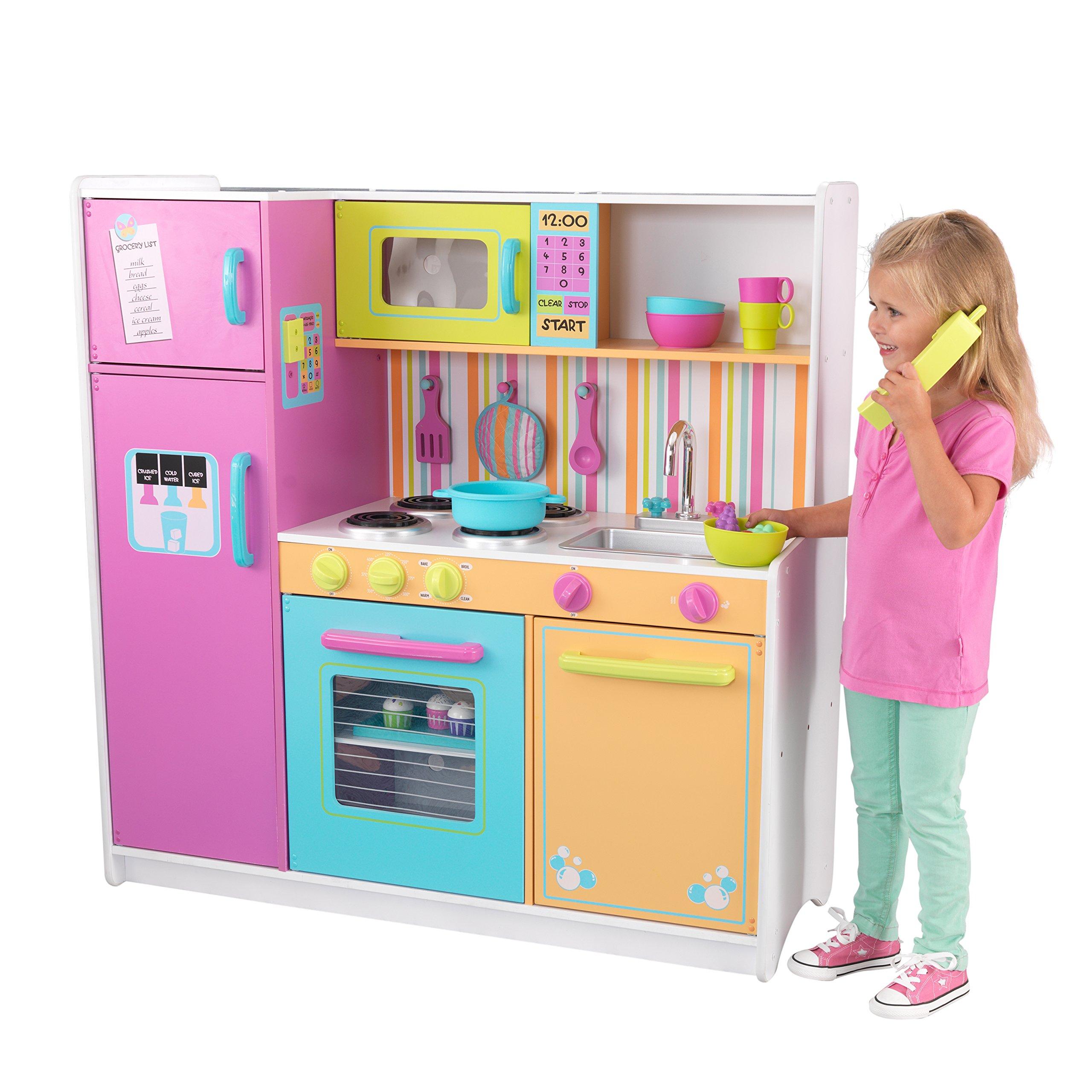 KidKraft 53100 Cucina giocattolo in legno per bambini Deluxe Big and Bright  con telefonino e accessori di gioco inclusi - Colori vivaci - Giochi Legno