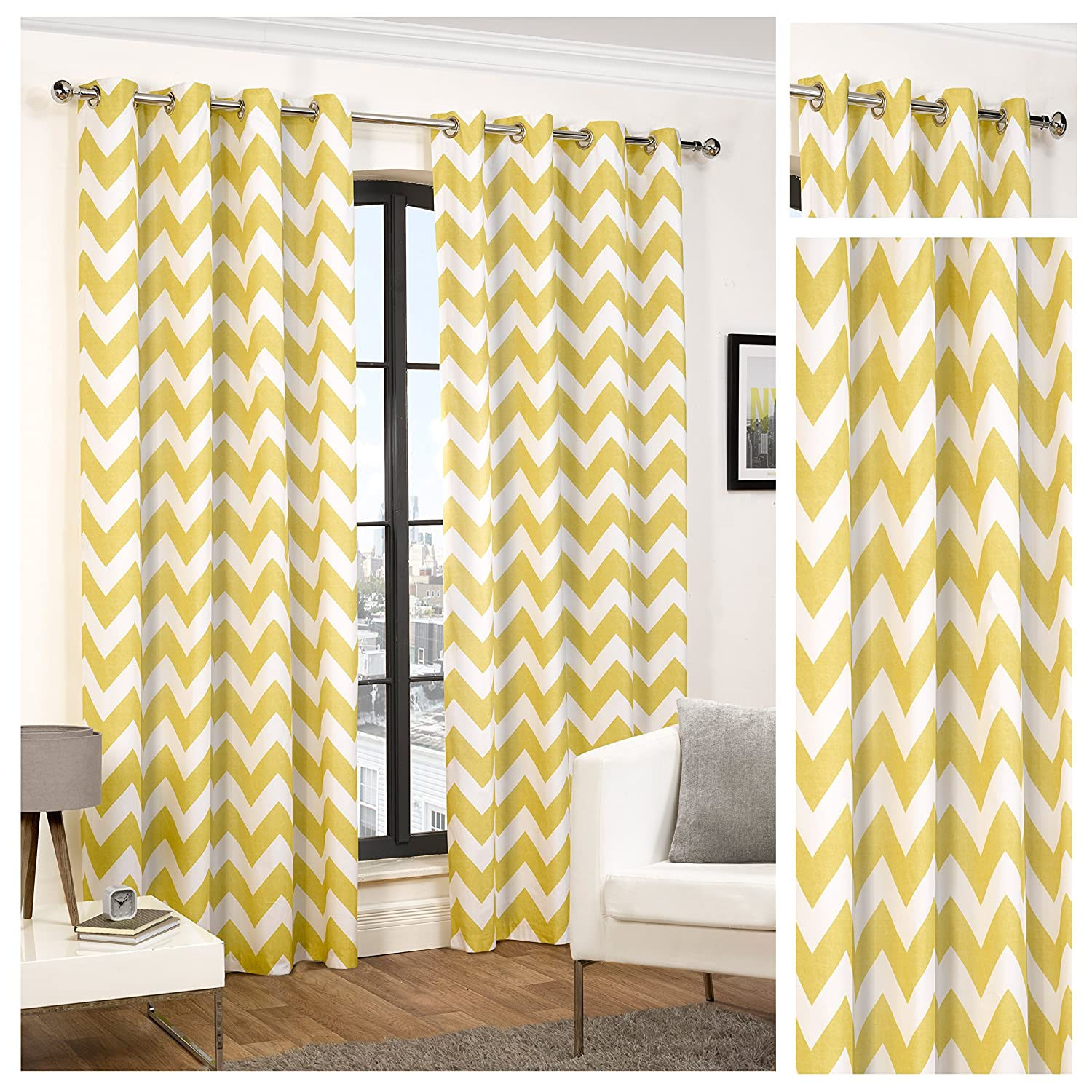 Yellow and grey chevron curtains - Hamilton Mcbride Chevron Ochre Ring Top Eyelet Fully Lined Readymade Curtain Pair 46x54in 116x137cm Approximately Amazon Co Uk Kitchen Home