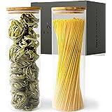 KIVY® Set Bocaux en Verre [2 x 1800 ml] - Bocaux Rangement Cuisine Haute Qualité avec Couvercles en Bambou Durable - Bocaux C