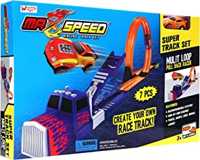 Wembley Toys 360 Degree Loop Max Speed Track Set with Music, Truck Jump and Pull Back Rotating Car