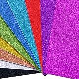 10 Blatt Glitzer Papier Glänzend Bastelpapier A4 Farbiges Tonpapier Sortiert Glitzer Karte Glitterkarton Patchwork Bling-Bling Karton für DIY Handwerk Scrapbooking Mehrfarbig