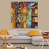 Inephos Wood Abstract Wall Painting , Multicolour, Modern, 85x85 cm