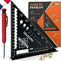 EXCLU FR Equerre Menuisier MULTI FONCTIONS 180 mm [+CRAYON +NOTICE FR] Metal Aluminium Regle Équerre Trusquin Guide…